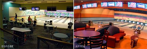before after bowling center makeover